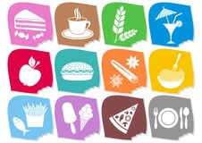 Food and drink icons. Set of twelve colorful food and drink icons stock illustration