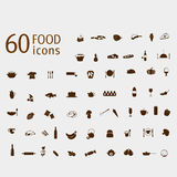 Food  and drink icons vector set. On background Royalty Free Stock Photography