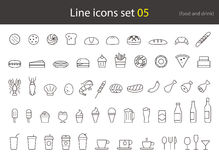 food and drink line icon set, breakfast, cake,meal Royalty Free Stock Photos