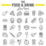 Food and drink line icon set, meal sign collection. Food and drink line icon set, meal symbols collection, vector sketches, logo illustrations, signs linear vector illustration