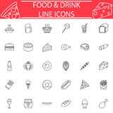 Food and drink line icon set. Food and drink line pictograms package, Sweets symbols collection, fast food vector sketches, logo illustrations, meals line icon Royalty Free Stock Photos