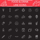Food and drink line icon set. Food and drink line pictograms package, Sweets symbols collection, fast food vector sketches, logo illustrations, meals line icon Stock Image