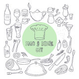 Food and drink outline doodle icons. Set of hand drawn kitchen elements Royalty Free Stock Photography
