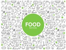 Food And Drink Pattern. With beverages sweet products fruits pretzel chicken fish sausage kitchen utensil line icons vector illustration stock illustration