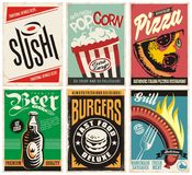 Food and drink posters collection vector illustration