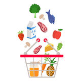 Food and drink products falling down into basket Royalty Free Stock Photos