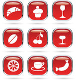 Food and drink red icons set Royalty Free Stock Images