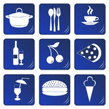 Food and drink related blue icons Stock Photos