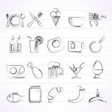 Food, drink and restaurant icons Stock Photo