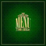 Food and drink Restaurant Menu , vintage card green. Food and drink Restaurant Menu design ,vintage card green Stock Image