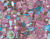Food and drink seamless pattern. Hand drawn Royalty Free Stock Image
