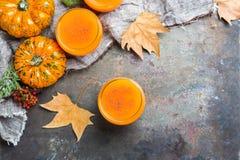 Thanksgiving pumpkin autumn fresh juice drink cocktail beverage Royalty Free Stock Image