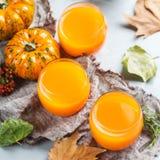 Thanksgiving pumpkin autumn fresh juice drink cocktail beverage Stock Images