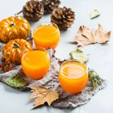 Thanksgiving pumpkin autumn fresh juice drink cocktail beverage Royalty Free Stock Photography