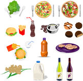 Food and drink set collection Stock Photography