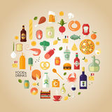 Food drink set. Flat design style modern vector illustration food and drink icon set. Tasty food, meals, drinks, confection, seafood, vegetables and fruits Royalty Free Stock Images