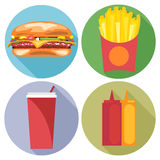 Food and drink set flat style. Burger, coke, chips, ketchup and mayonnaise Stock Image