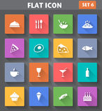 Food and Drink set in flat style with long shadows. Vector application Food and Drink set in flat style with long shadows Stock Images