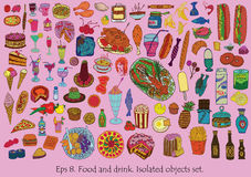 Food and drink set. Isolated objects. Hand drawn Stock Images