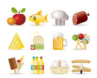 Food, drink and shop icons Stock Photos