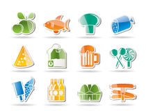 Food, drink and shop icons Royalty Free Stock Photography