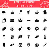 Food and drink solid icon set Royalty Free Stock Images