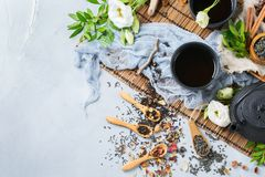 Selection of japanese chinese herbal masala tea teapot. Food and drink, still life concept. Selection assortment of different japanese chinese herbal masala tea Stock Photo