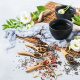 Selection of japanese chinese herbal masala tea teapot. Food and drink, still life concept. Selection assortment of different japanese chinese herbal masala tea Royalty Free Stock Photography
