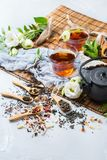 Selection of japanese chinese herbal masala tea teapot. Food and drink, still life concept. Selection assortment of different japanese chinese herbal masala tea Stock Image