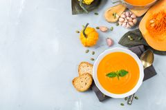 Fall autumn roasted orange pumpkin carrot soup with garlic royalty free stock images