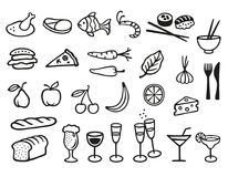 Food and drink symbols. Collection with 27 different food and drink symbols Stock Photos