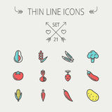 Food and drink thin line icon set Royalty Free Stock Images