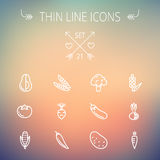 Food and drink thin line icon set Royalty Free Stock Photo
