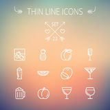 Food and drink thin line icon set Stock Images