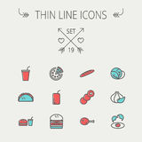 Food and drink thin line icon set Stock Photos