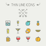 Food and drink thin line icon set Stock Image