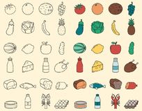 Food and Drink thin line icons. Fruits and Vegetables, Evereday food. Vector. Illustration Royalty Free Stock Photo