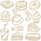 Food and drink various of doodles Stock Photography