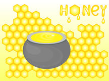 Food and drink vector background with honey pot, bright yellow honeycombs, and handwritten word Honey Stock Images