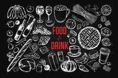 Food and Drink vector big set. On Chalkboard. objects in sketch style royalty free illustration