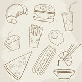Food and Drink Vector Hand Drawn Icons Royalty Free Stock Photo