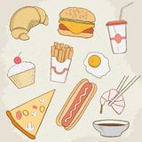 Food and Drink Vector Hand Drawn Icons Royalty Free Stock Photography