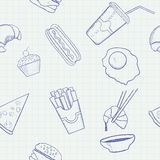 Food and Drink Vector Hand Drawn Seamless Pattern Stock Image