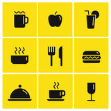 Food and drink vector icons. Set for fast food, restaurant, coffee Stock Photo