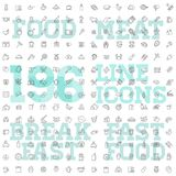 196 food and drink thin vector icon set. Food and drink vector linear icon set vector illustration