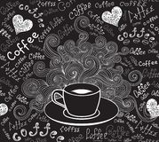 Food and drink vector seamless pattern with coffee cup and words `Coffee`. Handwritten by chalk on grey board stock illustration