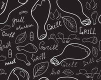 Food and drink vector seamless texture with chicken legs and word Grill handwritten by chalk on grey board Stock Photos