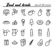 Food icons. Food and drink. Vector set of 24 outline icons Royalty Free Stock Image