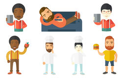 Food and drink vector set with people. Stock Photos