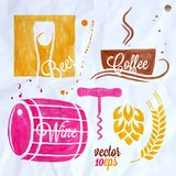 Food and drink watercolor set beer wine coffee Stock Photography